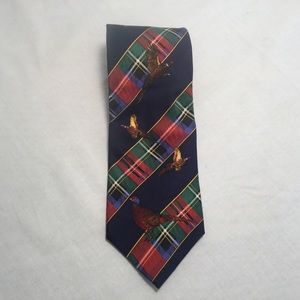 Nautica plaid and pheasant silk tie